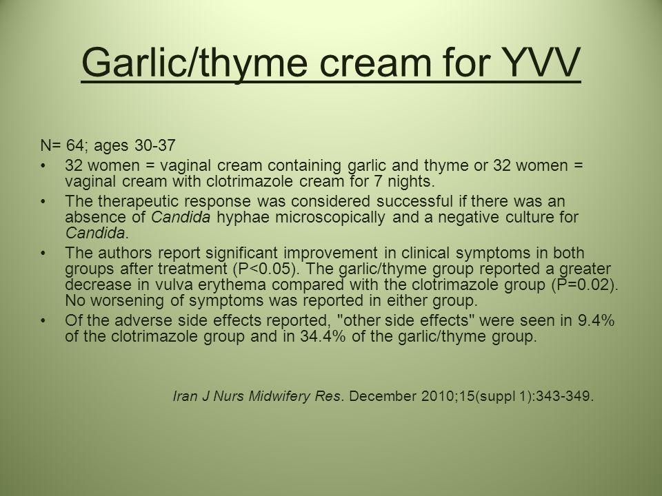 Garlic/thyme cream for YVV