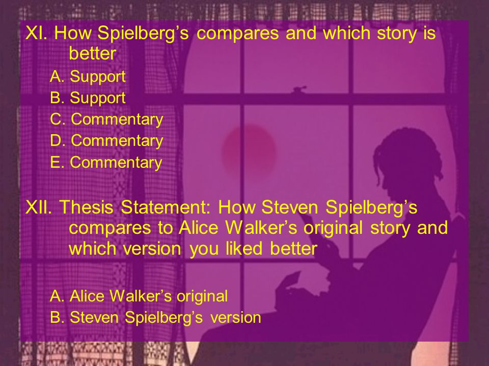 XI. How Spielberg's compares and which story is better