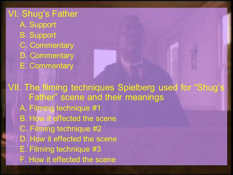 VI. Shug's Father A. Support. B. Support. C. Commentary. D. Commentary. E. Commentary.