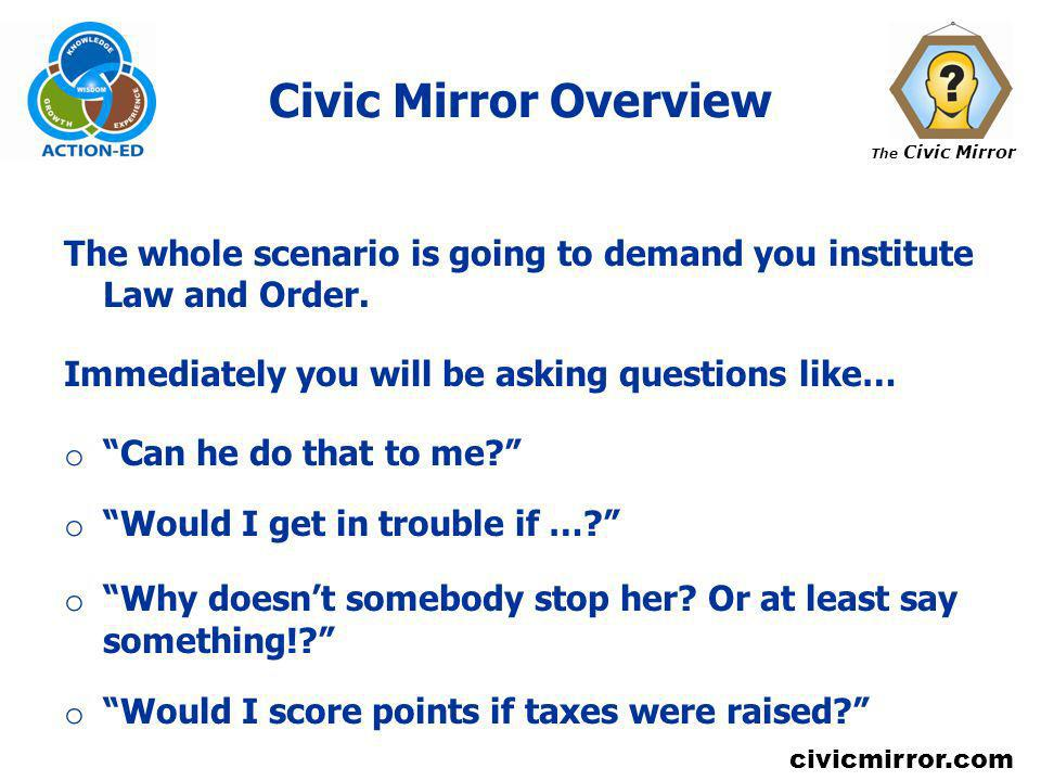 Civic Mirror Overview The whole scenario is going to demand you institute Law and Order. Immediately you will be asking questions like…