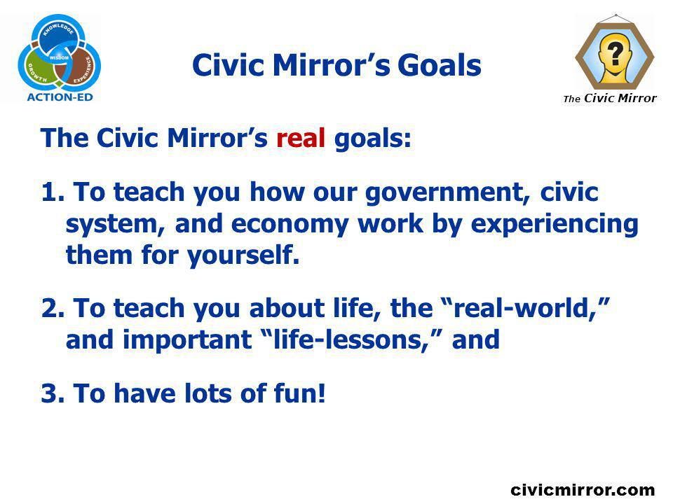 Civic Mirror's Goals The Civic Mirror's real goals: