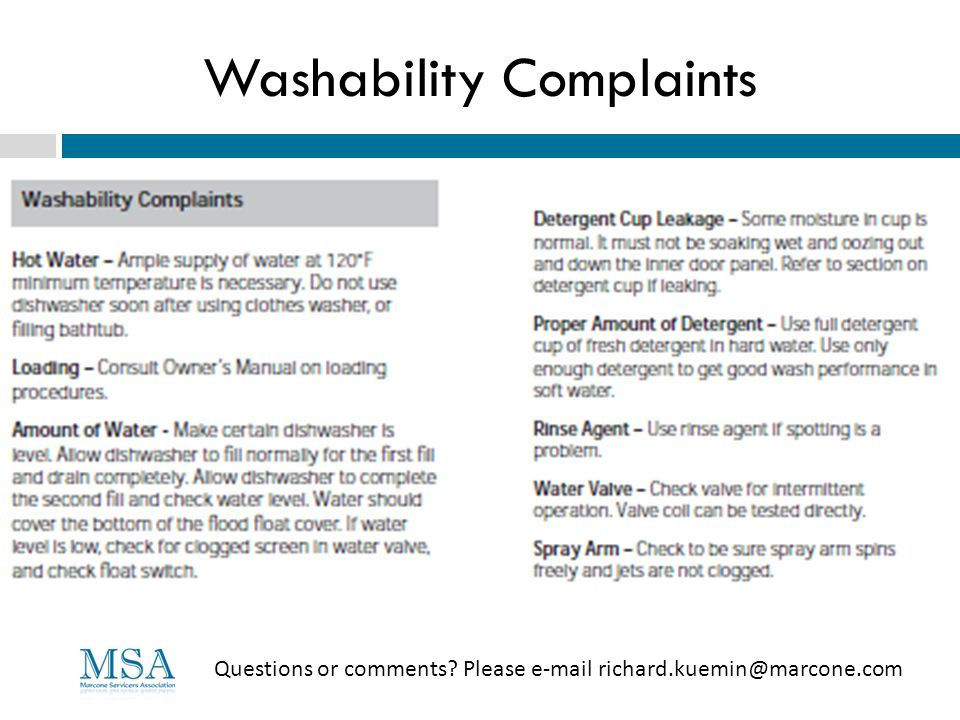 Washability Complaints