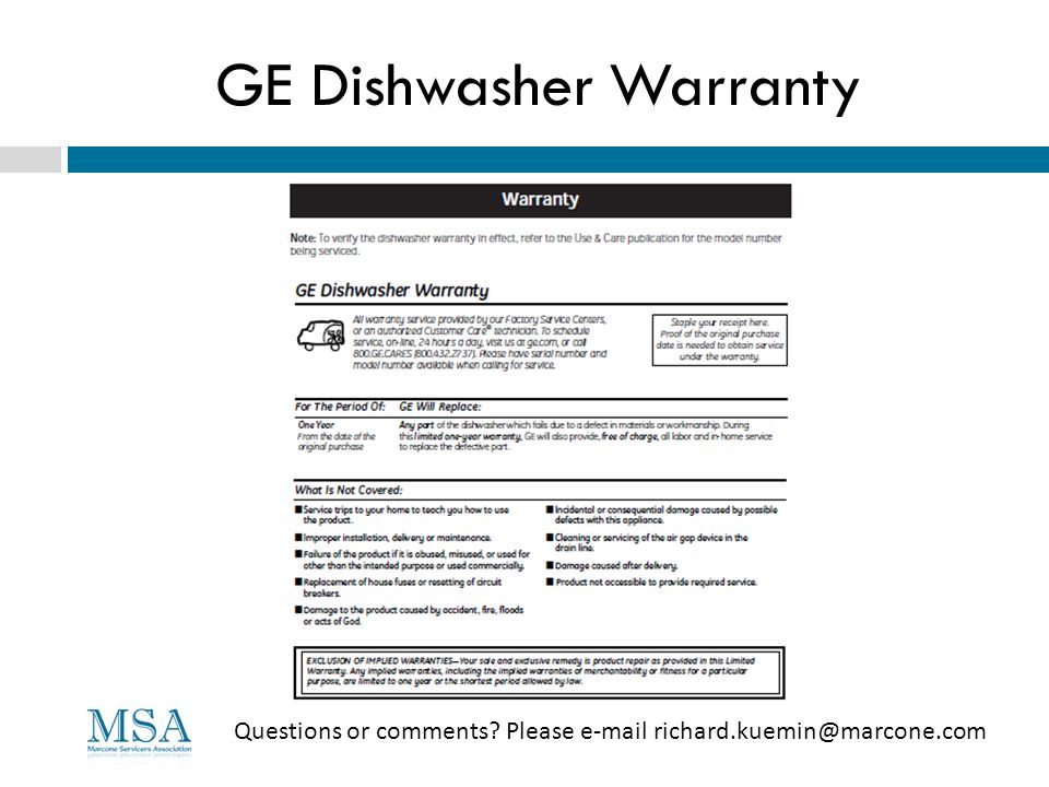 GE Dishwasher Warranty
