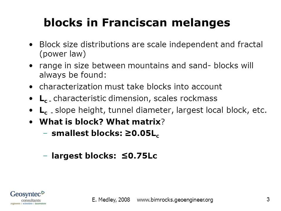 blocks in Franciscan melanges