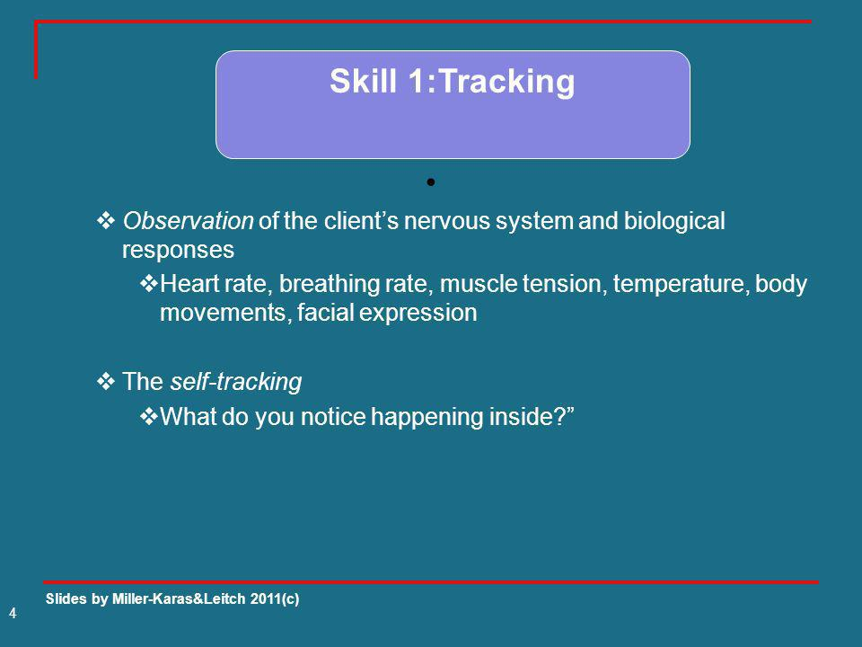 Skill 1:TrackingObservation of the client's nervous system and biological responses.