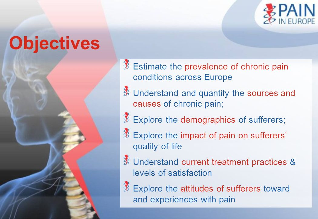 Objectives Estimate the prevalence of chronic pain conditions across Europe. Understand and quantify the sources and causes of chronic pain;