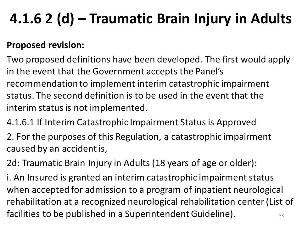 (d) – Traumatic Brain Injury in Adults