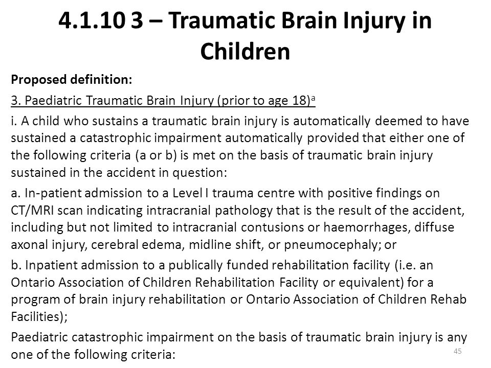 – Traumatic Brain Injury in Children