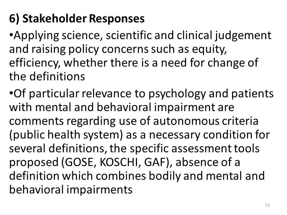 6) Stakeholder Responses