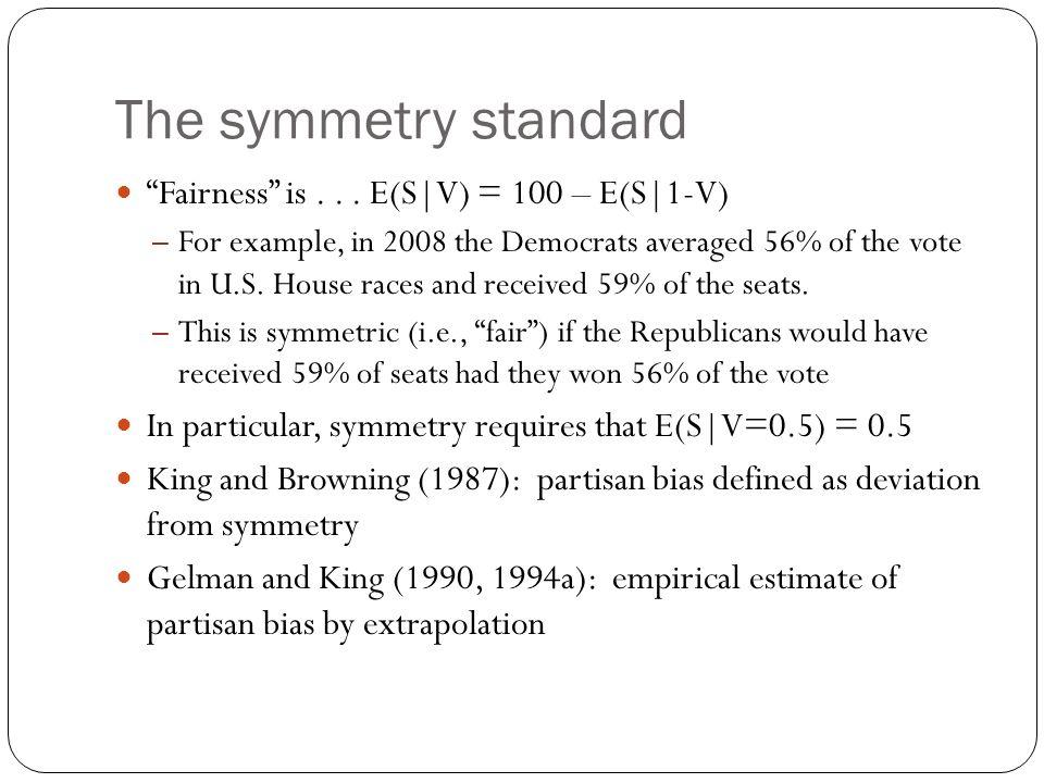 The symmetry standard Fairness is . . . E(S V) = 100 – E(S 1-V)