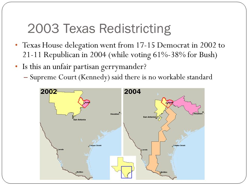 2003 Texas Redistricting Texas House delegation went from 17-15 Democrat in 2002 to 21-11 Republican in 2004 (while voting 61%-38% for Bush)