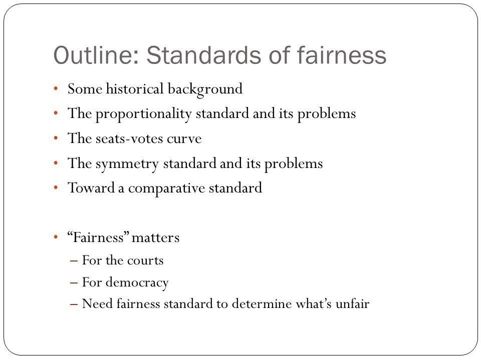 Outline: Standards of fairness
