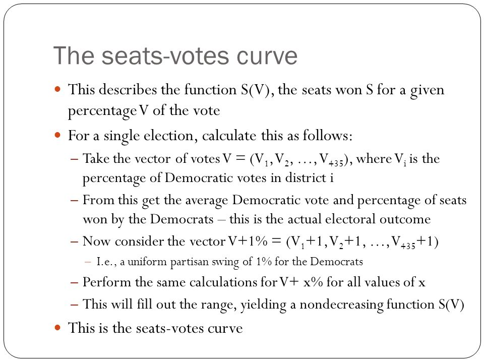 The seats-votes curve This describes the function S(V), the seats won S for a given percentage V of the vote.
