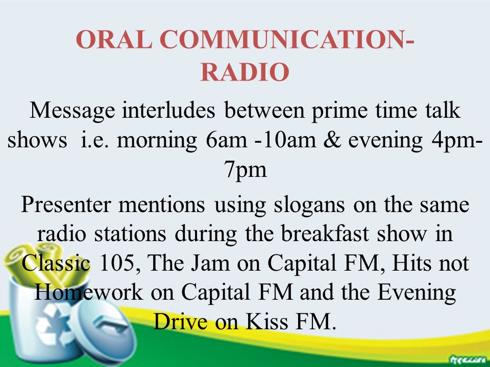 ORAL COMMUNICATION-RADIO
