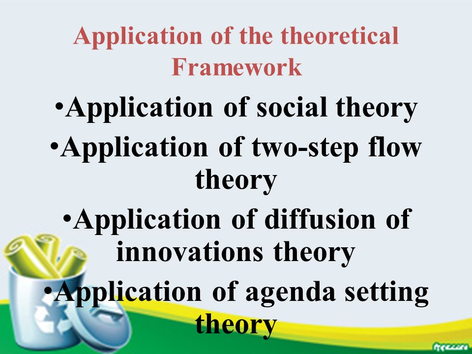 Application of the theoretical Framework