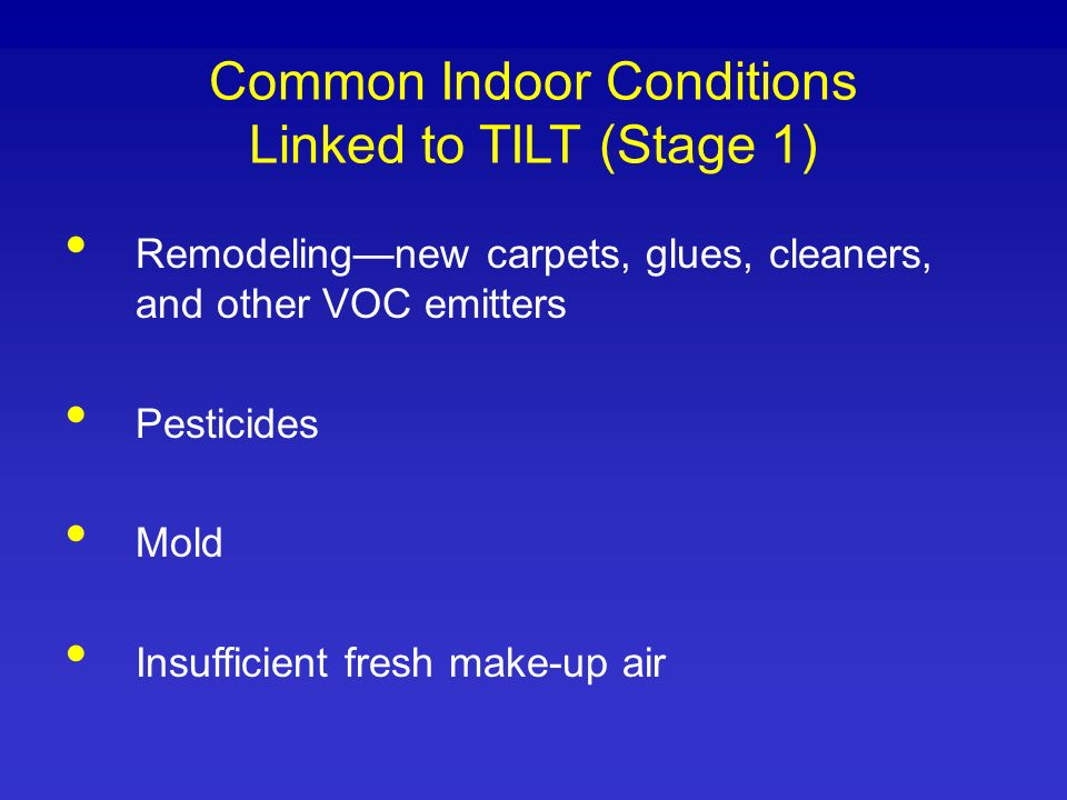 Common Indoor Conditions Linked to TILT (Stage 1)