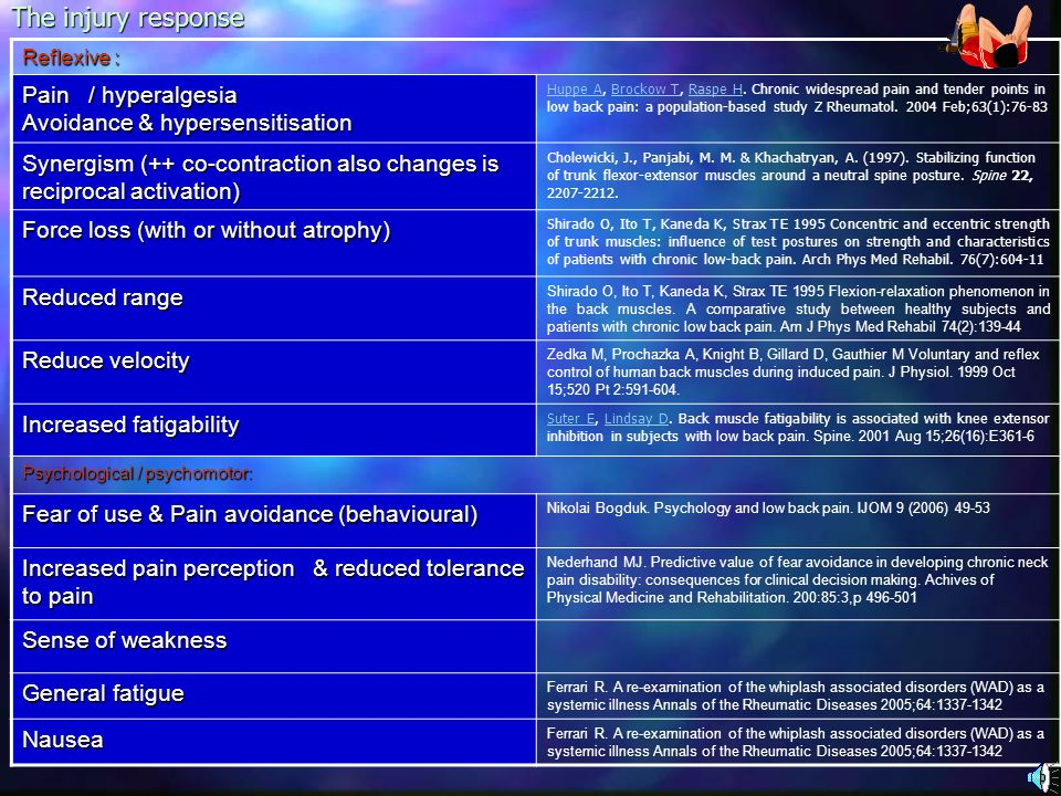 The injury response Pain / hyperalgesia Avoidance & hypersensitisation