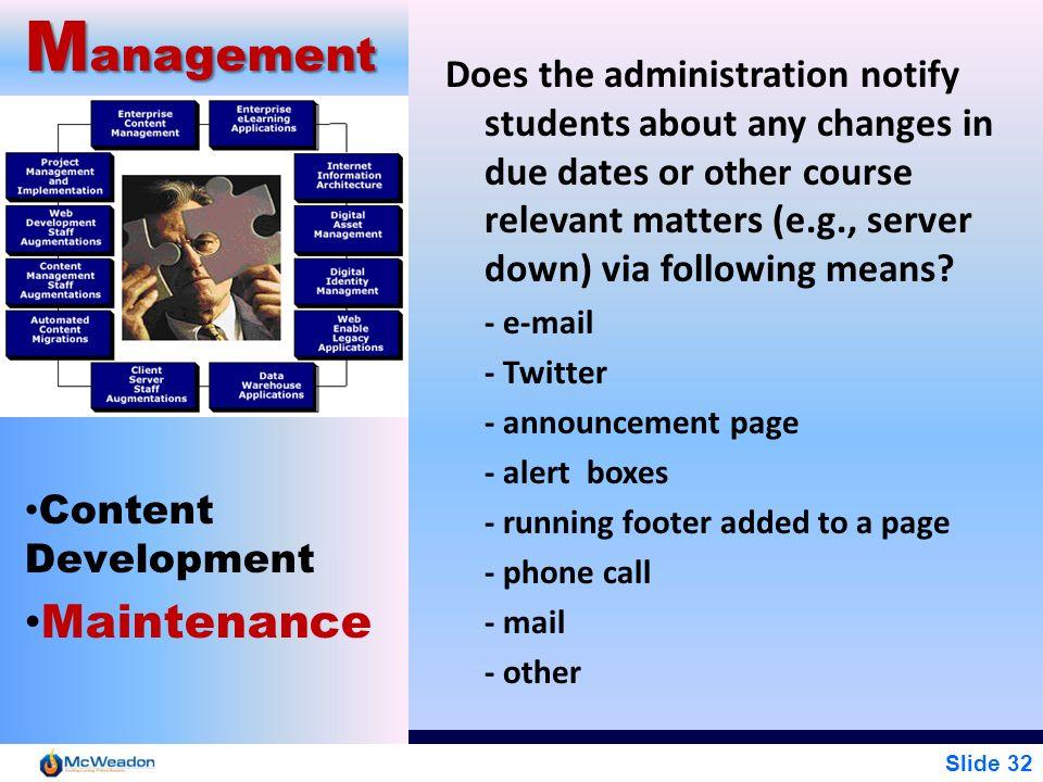 Management Maintenance