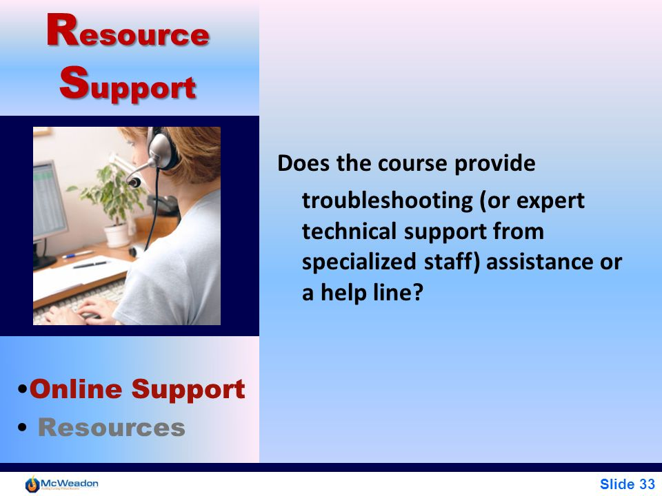 Resource Support Online Support Does the course provide