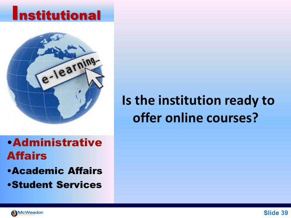 Institutional Is the institution ready to offer online courses