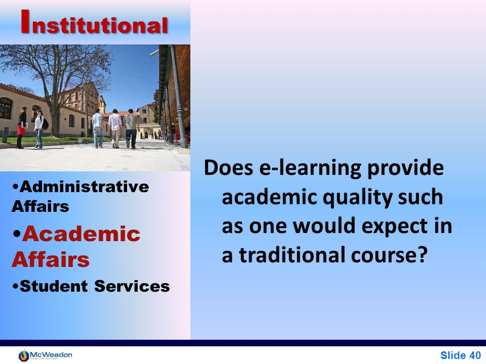 Institutional Does e-learning provide academic quality such as one would expect in a traditional course