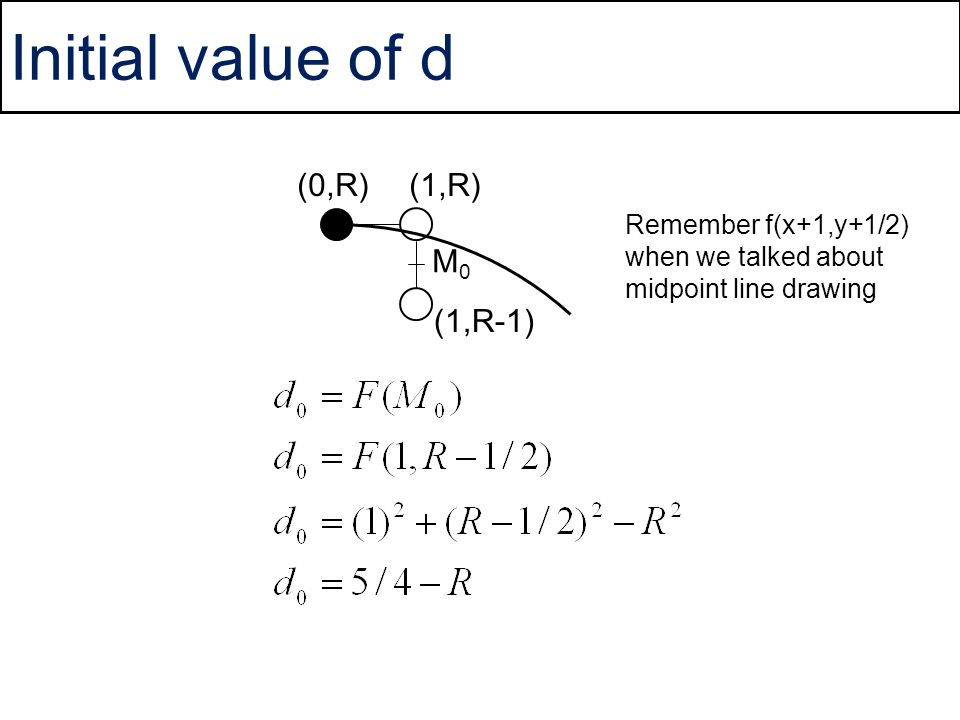 Initial value of d (0,R) (1,R) M0 (1,R-1)