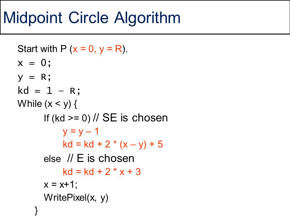 Line Drawing Using Midpoint Algorithm : Circle drawing asst prof dr ahmet sayar kocaeli