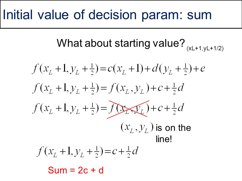 Initial value of decision param: sum