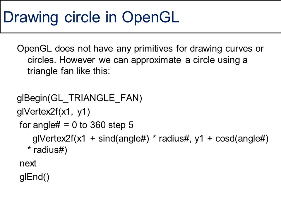 Drawing circle in OpenGL