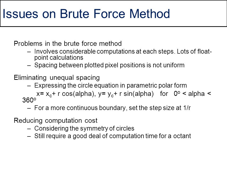 Issues on Brute Force Method