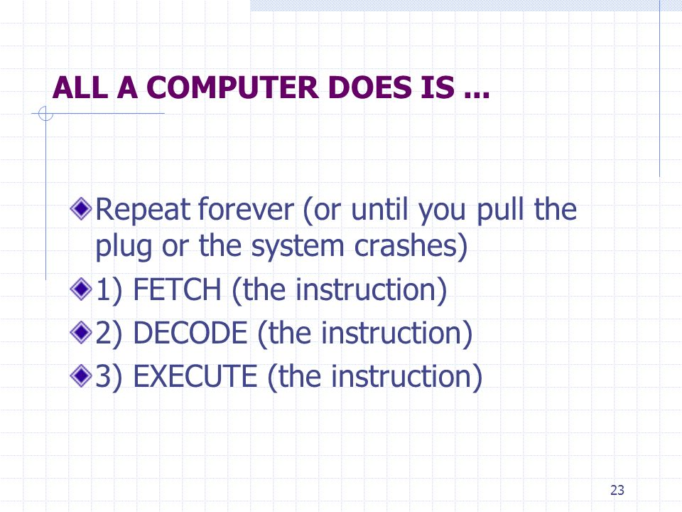 ALL A COMPUTER DOES IS ... Repeat forever (or until you pull the plug or the system crashes) 1) FETCH (the instruction)