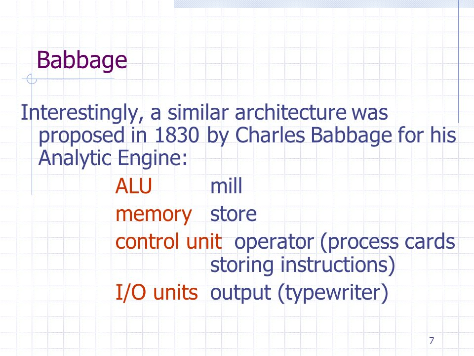 Babbage Interestingly, a similar architecture was proposed in 1830 by Charles Babbage for his Analytic Engine: