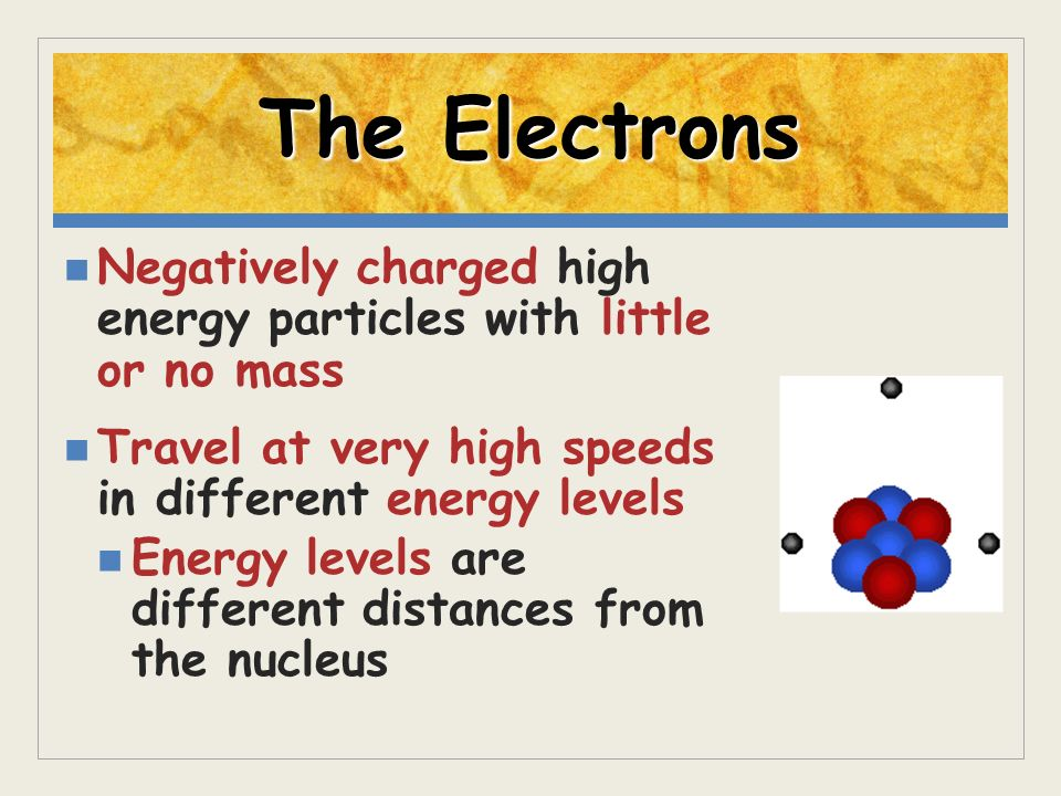 The Electrons Negatively charged high energy particles with little or no mass. Travel at very high speeds in different energy levels.