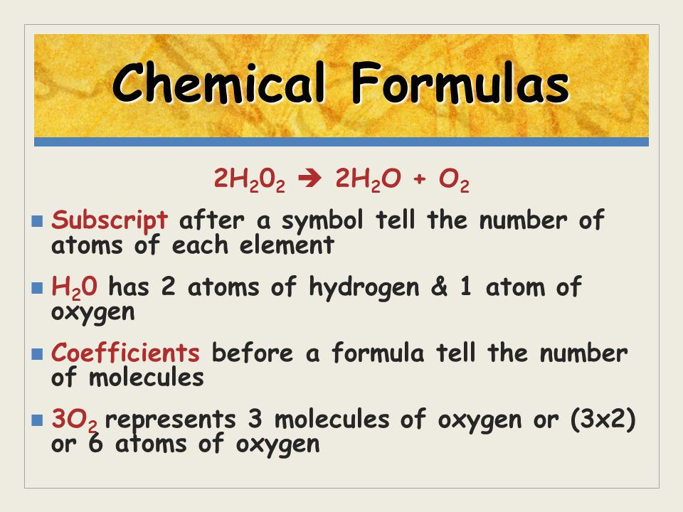 Chemical Formulas 2H202  2H2O + O2