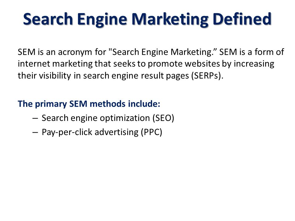 Search Engine Marketing Defined