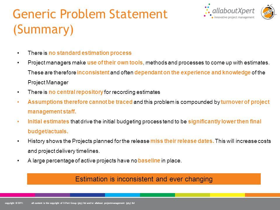 Generic Problem Statement (Summary)