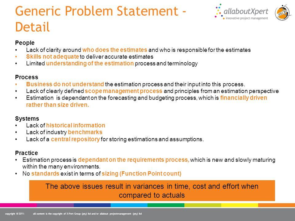 Generic Problem Statement - Detail