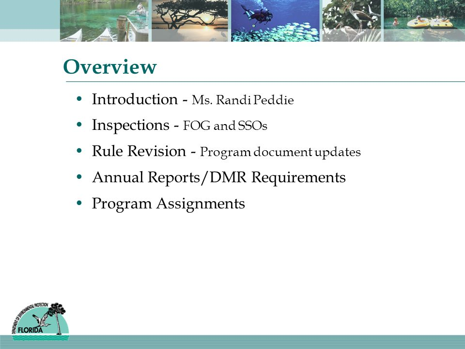 Overview Introduction - Ms. Randi Peddie Inspections - FOG and SSOs