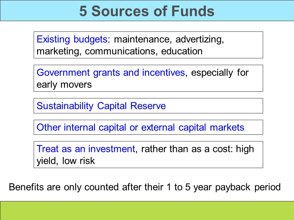 5 Sources of FundsExisting budgets: maintenance, advertizing, marketing, communications, education.