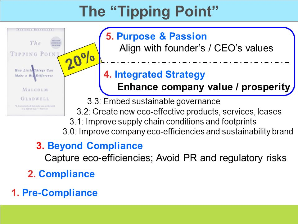The Tipping Point 5. Purpose & Passion Align with founder's / CEO's values. 20% 4. Integrated Strategy Enhance company value / prosperity.