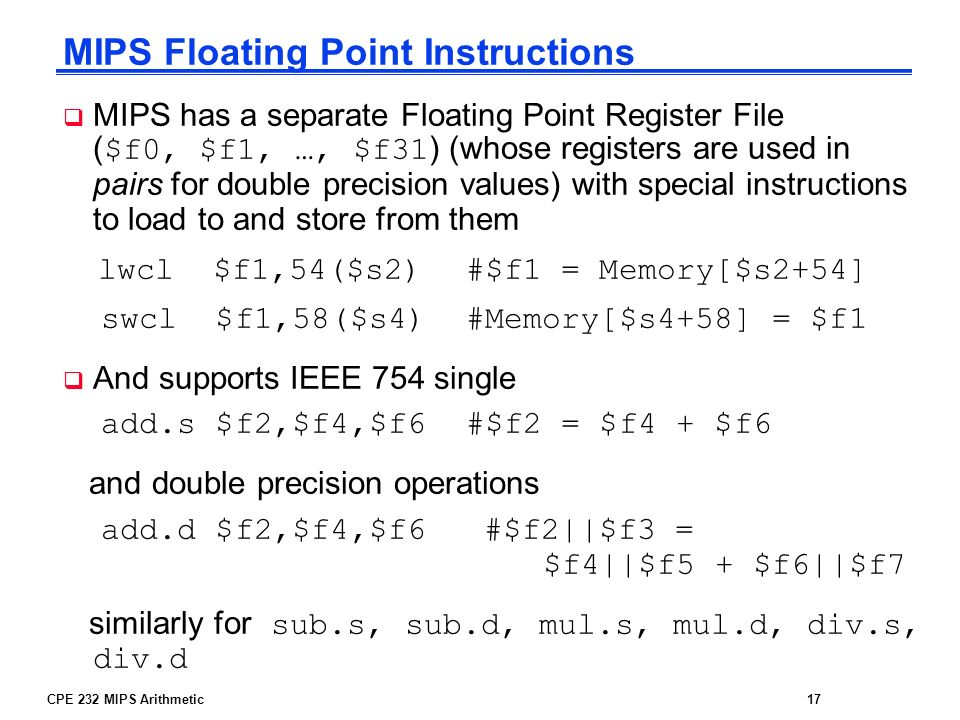MIPS Floating Point Instructions