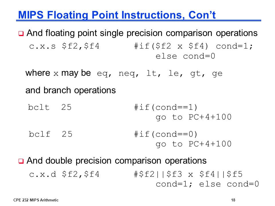MIPS Floating Point Instructions, Con't