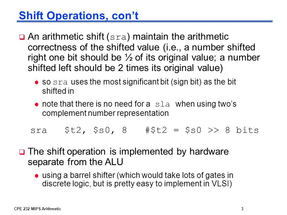Shift Operations, con't