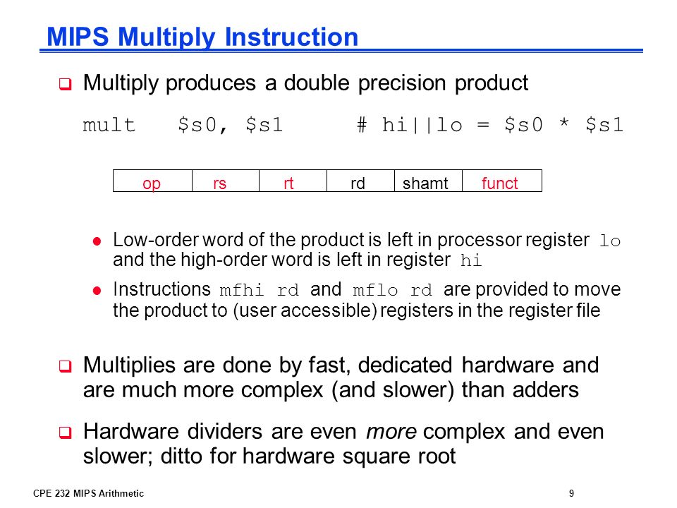 MIPS Multiply Instruction