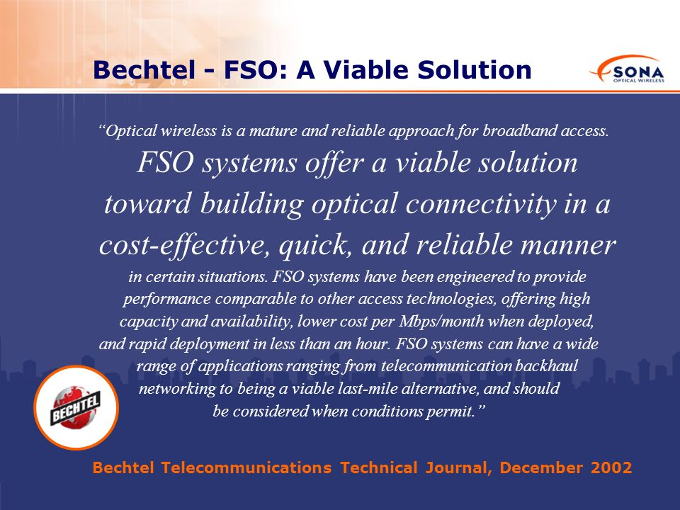 Bechtel - FSO: A Viable Solution