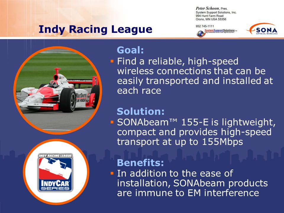 Indy Racing League Goal: Solution: Benefits: