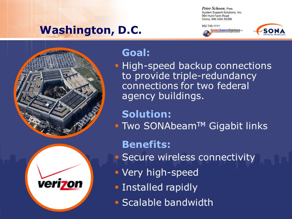 Washington, D.C. Goal: Solution: Benefits: