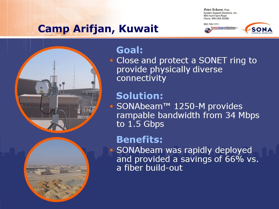 Camp Arifjan, Kuwait Goal: Solution: Benefits: