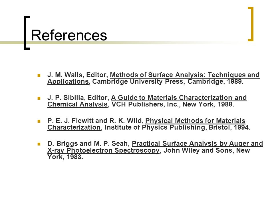 References J. M. Walls, Editor, Methods of Surface Analysis: Techniques and Applications, Cambridge University Press, Cambridge, 1989.