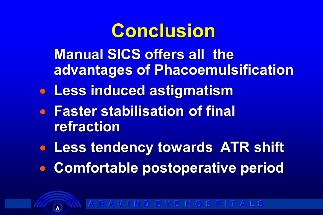 Conclusion Manual SICS offers all the advantages of Phacoemulsification. Less induced astigmatism.